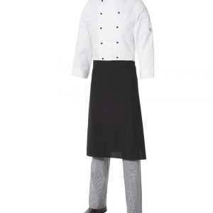 Medium Apron with Pocket Black Poly/Viscose