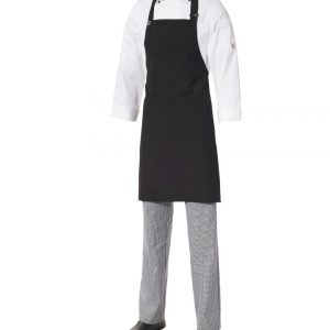 Bib Apron Black Poly/Viscose with Pocket