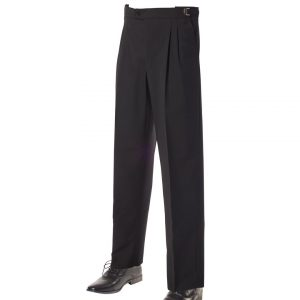 Mens Fitted Wool Blend Trousers