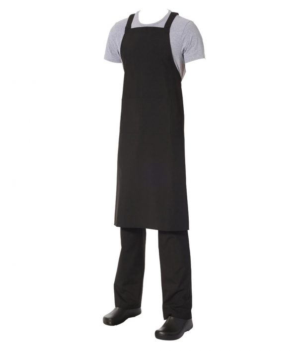 Crossover Bib Apron Black Poly/Viscose with front pocket by Club Chef Aprons 2