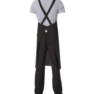 Crossover Bib Apron Black Poly/Viscose with front pocket by Club Chef Aprons 7