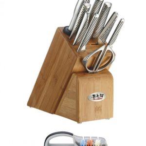 Global Takashi 10pc Knife Block Set + Free Ceramic Sharpener